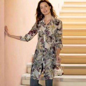 SOFT SURROUNDINGS SASHA TAUPE FLORAL TUNIC BLOUSE